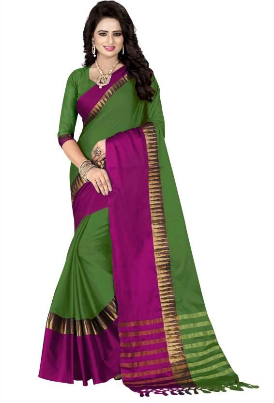 2f45a4a056 Buy Mastani Woven Bollywood Cotton Silk Dark Green Sarees Online ...