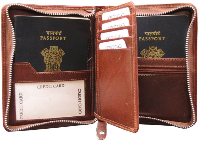 Men Woman Genuine Leather Long Wallet Passport ID Card Package Holder Zipper