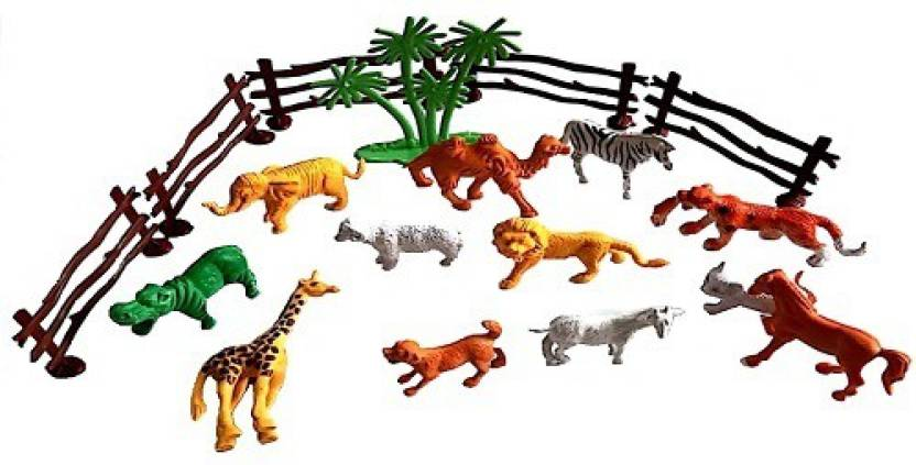 Reyansh Collection Plastic 12 Pcs Wild Realistic Animal Toy Set With