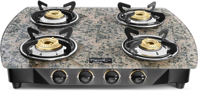 Pigeon Spark Marvel Green Full Size 4 Burner Gas Stove Brmanual Gas Stove
