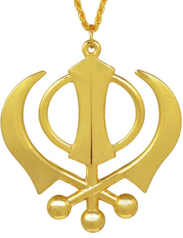 Memoir Big And Bold Khanda Sikh Sardar Punjabi Khalsa Locket Gold