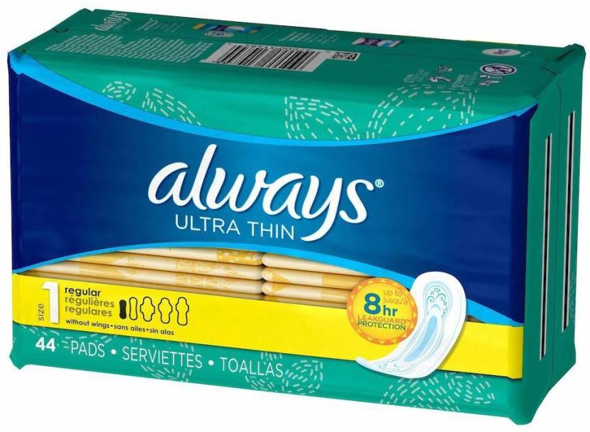 Always Ultra Thin Regular without Wings Unscented Pads 44