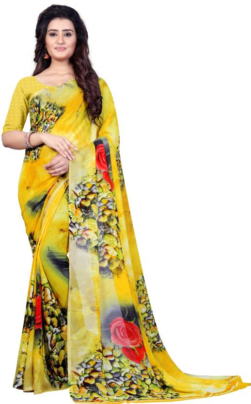 cfe6e277a Buy Anand Sarees Printed Fashion Faux Georgette Multicolor Sarees ...