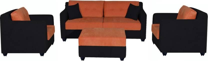 Bharat Lifestyle Li Fabric 3 1 1 Orange And Black Sofa Set Price