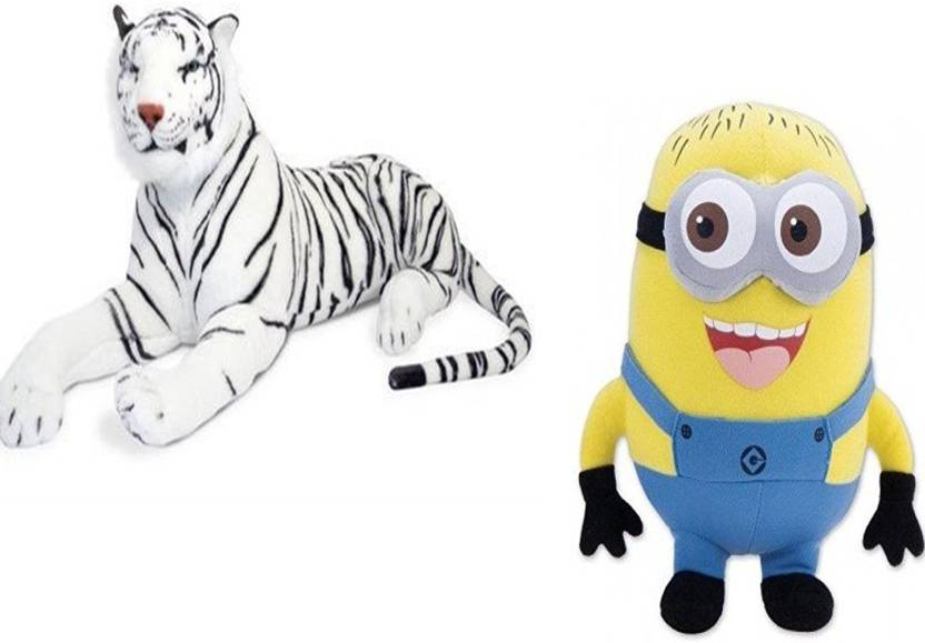 b50b97c4e8c Marchie s White Tiger Stuffed Soft Plush Toy Love Girl (40 CM) and Cute  Minions Cute Cartoon Soft Toy Birthday Gift For Kids (33Cm) - 5 cm  (Multicolor)