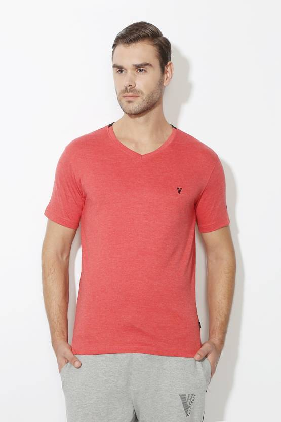1348d6be4c Van Heusen Solid Men V-neck Red T-Shirt - Buy Van Heusen Solid Men V-neck  Red T-Shirt Online at Best Prices in India