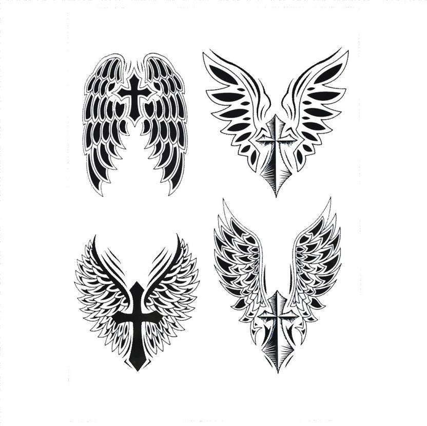 Savii Big Black Cross Wings Design - Price in India, Buy