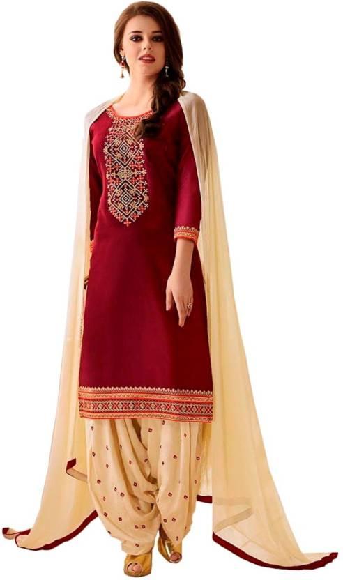 6784143fba NIrjas designer Cotton Embroidered Semi-stitched Salwar Suit Dupatta Material  Price in India - Buy NIrjas designer Cotton Embroidered Semi-stitched  Salwar ...