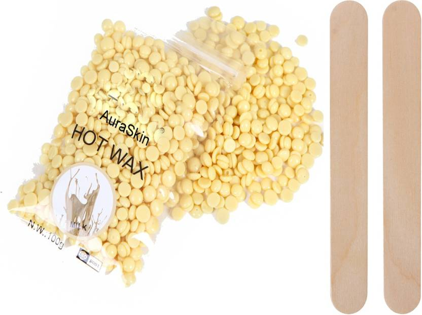 AuraSkin Milky yellow beans wax hard wax beans stripless no pain bikini wax  Wax with wooden sticks Wax