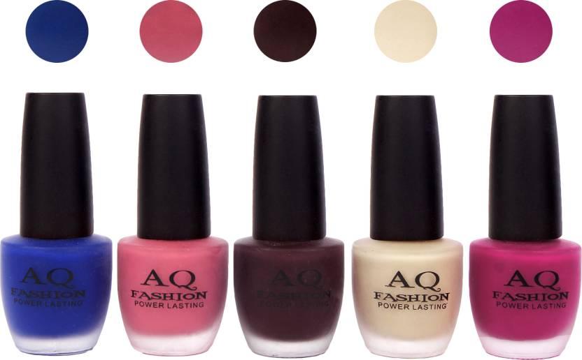AQ Fashion Velvet Matte Nail polish Combo set 827 Blue,Pink,Deep ...