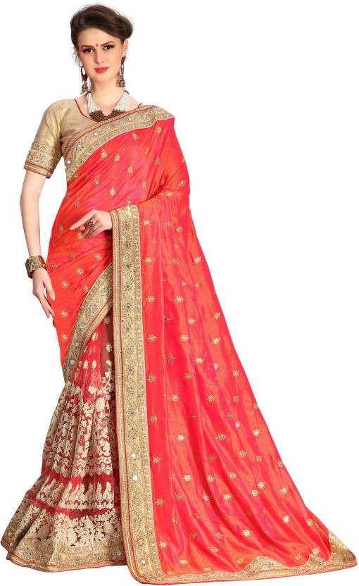 092a49b0f893a6 UJJWAL CREATION Embroidered, Embellished Fashion Silk, Net Saree (Red, Gold)