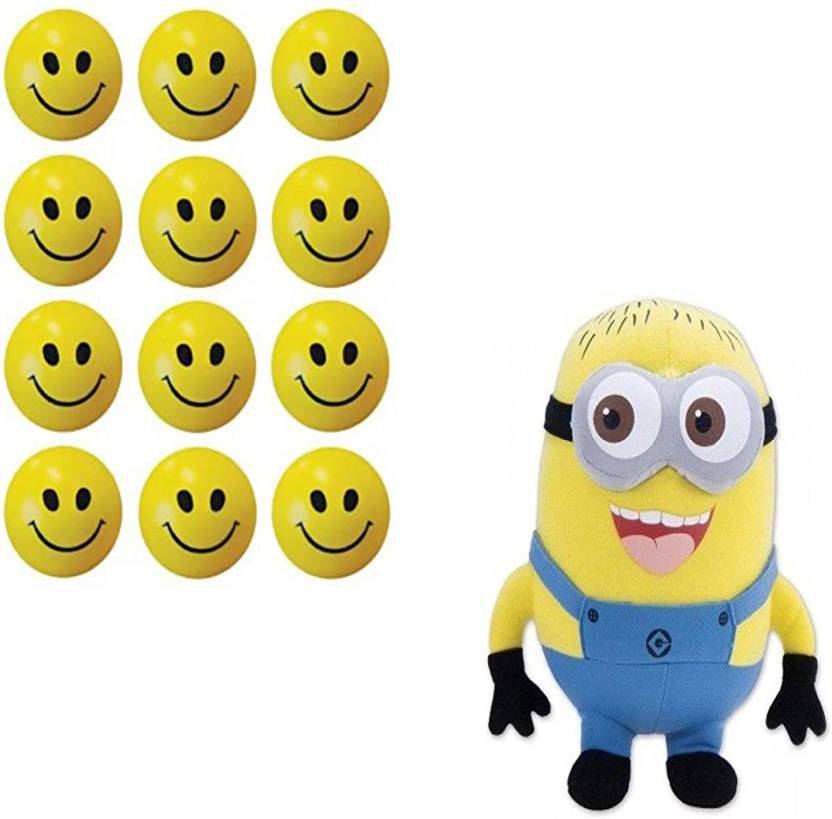 6b65b697ae60 Marchie's 12 Pcs Set of Smiley FACE Squeeze Ball and Cute Minions Cute  Cartoon Soft Toy Birthday Gift For Kids (33Cm) - 5 cm (Multicolor)