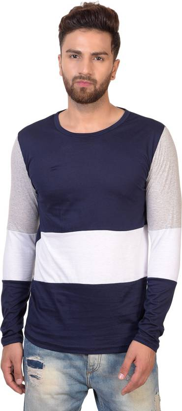 9630383c7c360 PAUSE Striped Men s Round Neck Blue T-Shirt - Buy PAUSE Striped ...