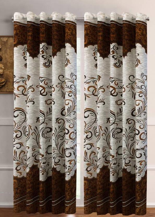 Flipkart SmartBuy 213 Cm (7 Ft) Polyester Door Curtain (Pack Of 2) (Solid,  Brown)
