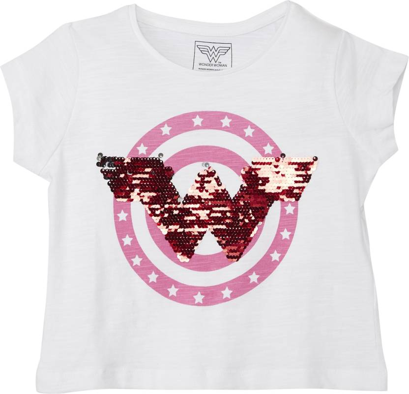182f08fb8 Wonder Woman Girl's Graphic Print Cotton T Shirt (White, Pack of 1)