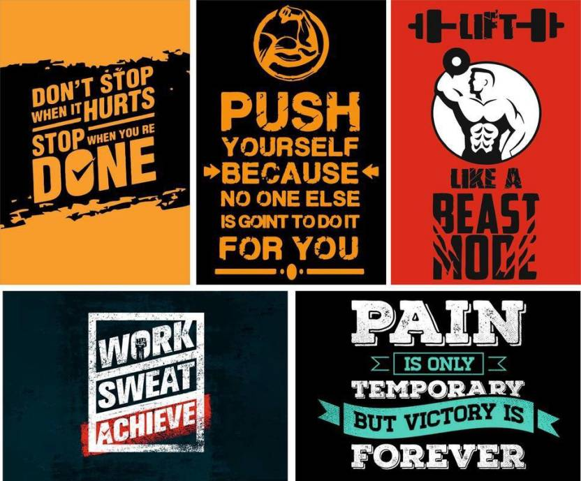 Combo Pack Of Gym Motivational 001 Quote Wall Poster Quotes ...