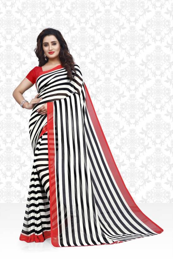 97d42af55ed1c Divastri Striped Daily Wear Faux Georgette Saree (Black