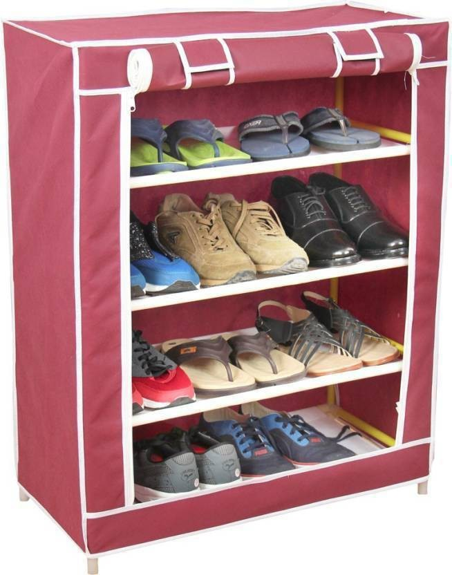 Dragon Portable 4 Layer Shoe Rack Shelf Storage Closet Organizer Cabinet  Stand Metal Collapsible Shoe Stand