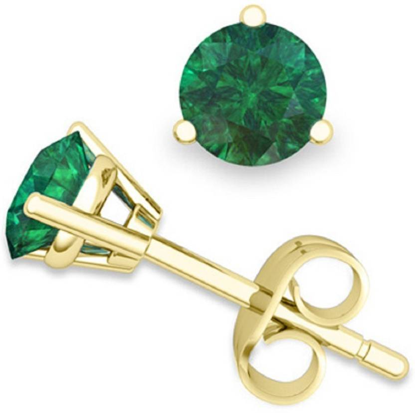 Jaipur Gesmtone Emerald Earring With Natural Stone Stud