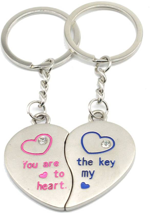 73610116ca Faynci You are the Key to my Heart couple design with twin Heart and  Rhinestone Key
