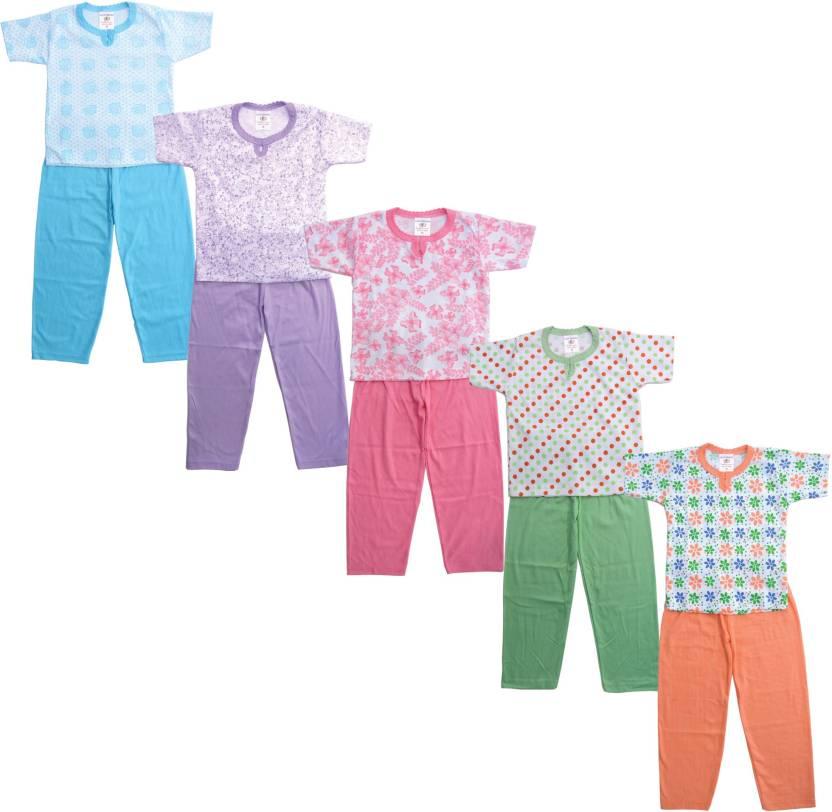 e4c8b09e6 Eazy Trendz Kids Nightwear Girls Floral Print Cotton (Multicolor Pack of 5)