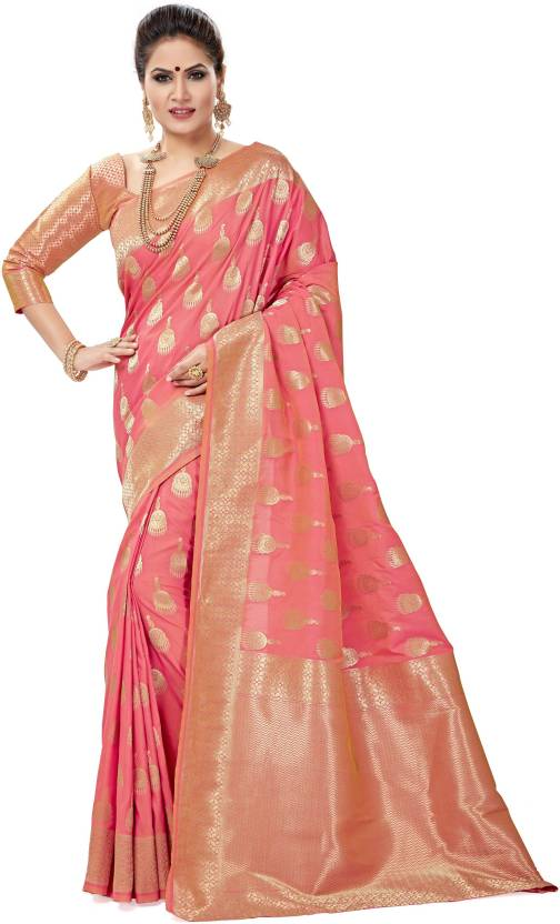 Sanku Fashion Solid, Self Design, Striped Patola Pure Silk, Banarasi Silk, Art Silk, Jacquard Saree (Pink)