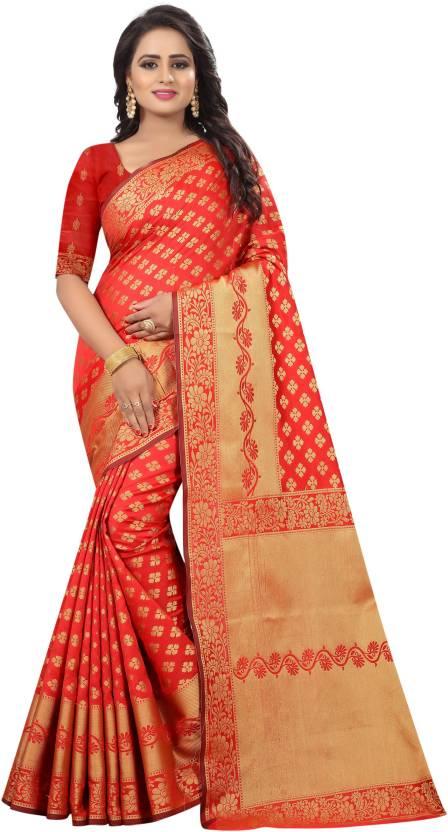 31e78d535c Buy MANJULA SAREE Self Design Kanjivaram Cotton Silk Red Sarees ...