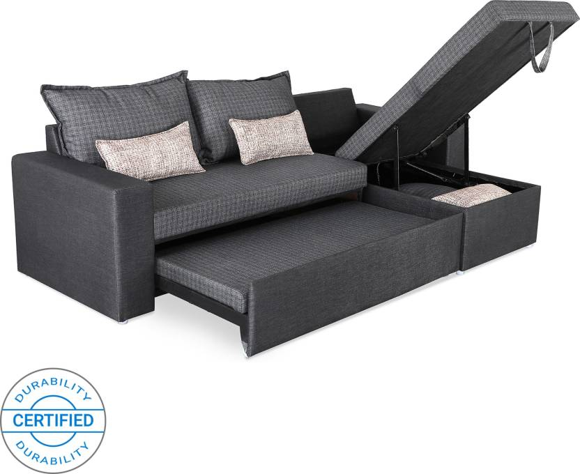 Sofame Rio Double Sofa Sectional Bed (Finish Color - Grey Mechanism Type -  Pull Out) e1d3908f1ad7
