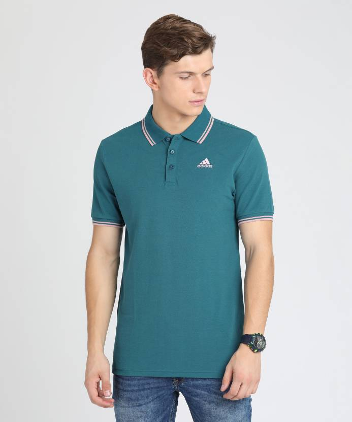 8fd7b37b ADIDAS Solid Men's Polo Neck Blue T-Shirt - Buy Red ADIDAS Solid Men's Polo  Neck Blue T-Shirt Online at Best Prices in India | Flipkart.com