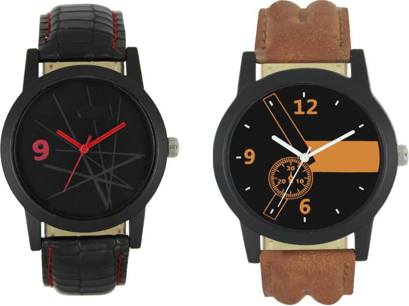 ddd7a4fe7 Lifetime new black and brown combo watch for boys leather belt watches for  men wrist watch unique stylish watch boy watches PartyWear+Casual+Formal  Watch ...