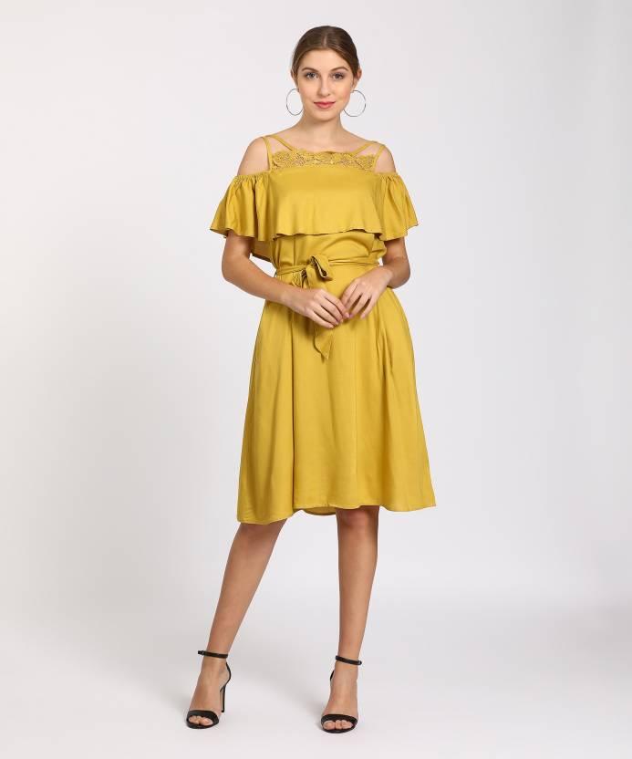5a08c737a8556 Tokyo Talkies Women's A-line Yellow Dress