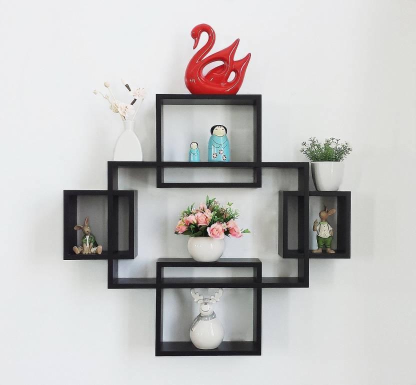 . DriftingWood Wooden Intersecting Wall Shelves Shelf for Living Room   Set  of 5   Black Wooden Wall Shelf