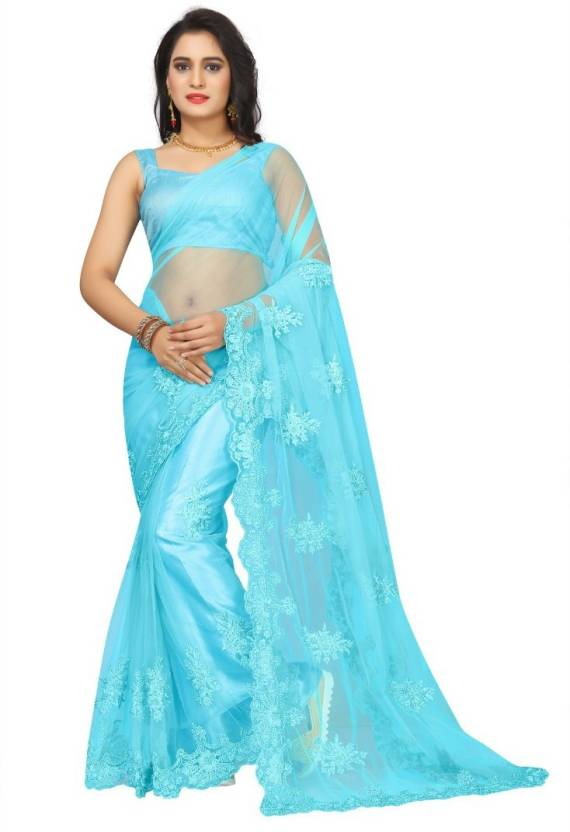 2f36e92091 Buy Availkart Embroidered Bollywood Net Light Blue Sarees Online ...