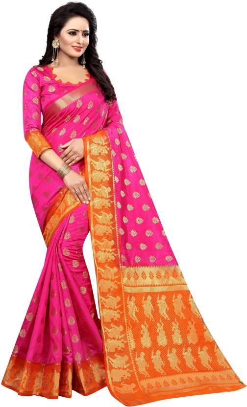 7c1e42c7d1 INDIAN CULTURE Embroidered Banarasi Cotton Silk Saree (Pink, Orange)