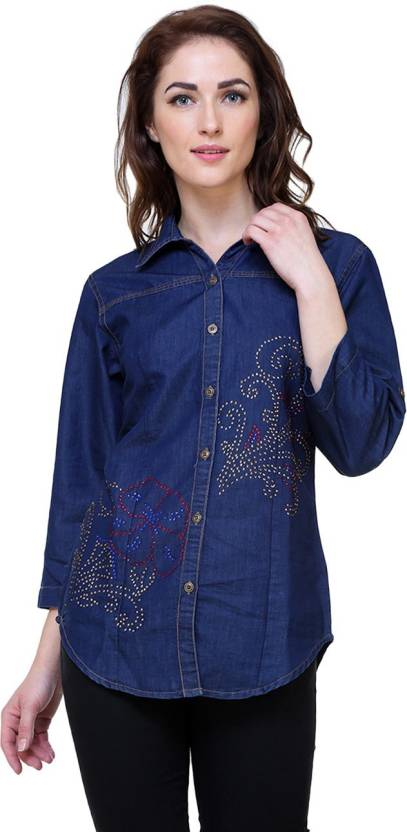 a2a1b4fa3d3 SKM Women Solid Casual Blue Shirt - Buy SKM Women Solid Casual Blue Shirt  Online at Best Prices in India