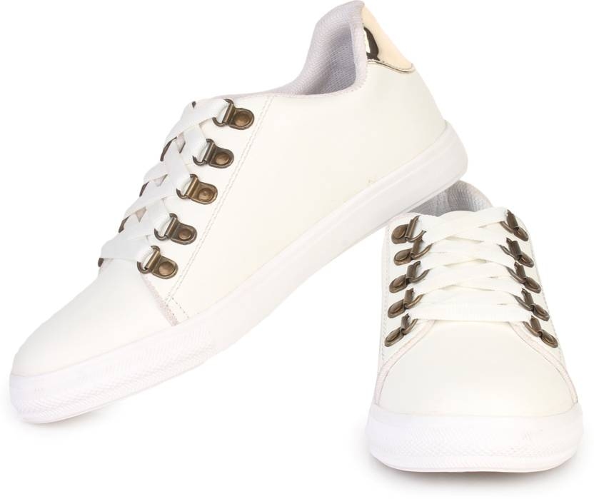 e5d65cef3be27 D-SNEAKERZ Women s And Girls Synthetic Leather Casual Partywear Sneakers Shoes  White Colour Sneakers For Women (White)