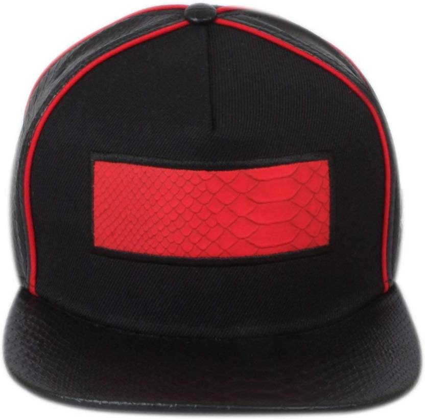 38ebb937e70 DRUNKEN Men s Black And Red Adjustable Snapback Faux Leather Cap Cap - Buy  DRUNKEN Men s Black And Red Adjustable Snapback Faux Leather Cap Cap Online  at ...