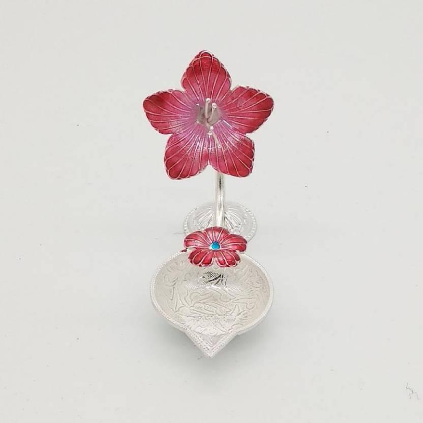 Maa Silver Maa Silver Diyalampdeepakdeep With Silver Red Hibiscus
