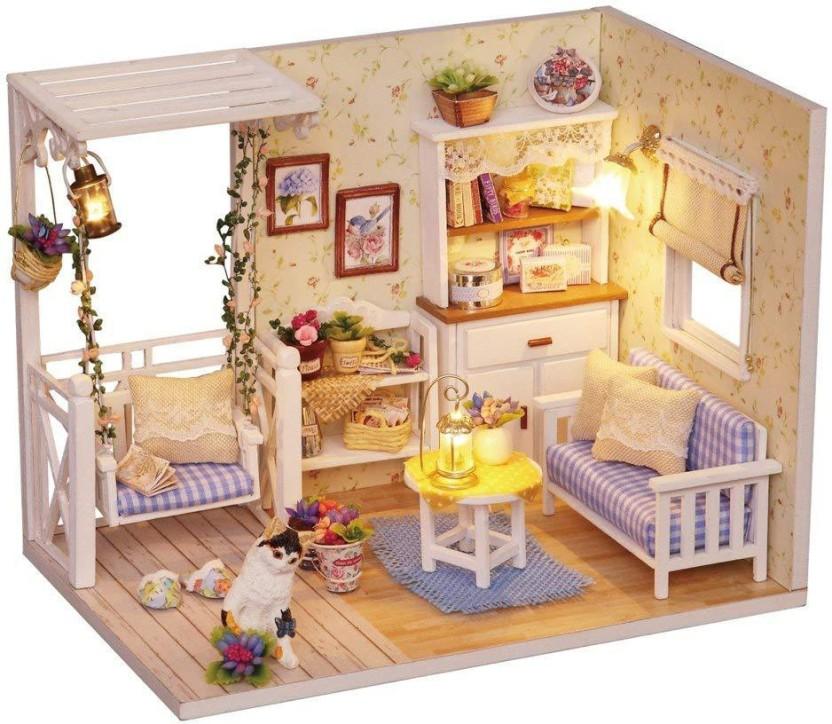 DIY Princess Dollhouse Wooden Miniature Furniture LED Kit Children Birthday Gift