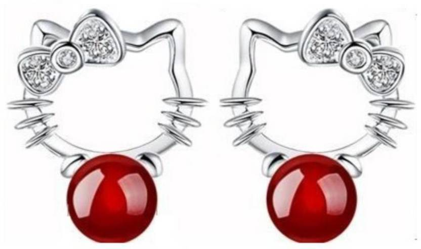 a6082af89 MYKI Hello Kitty Cute Cat Red Pearl Earring for women & girls Swarovski  Zirconia Sterling Silver