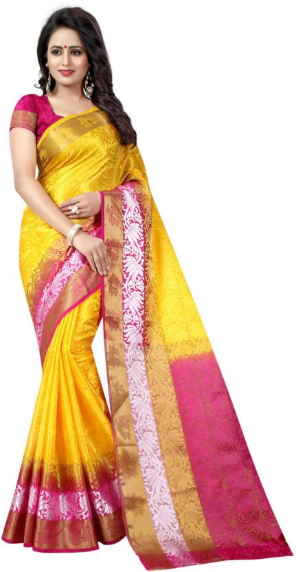 92653d4a45411f Buy SATYAM WEAVES Woven Banarasi Cotton Silk Multicolor Sarees ...