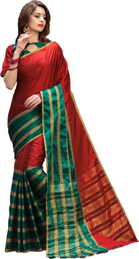 98e799e4a Buy Vedant Vastram Printed Chanderi Poly Silk Red Sarees Online ...