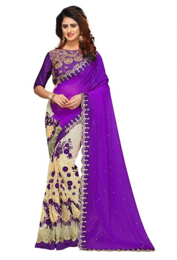 81a24ae5fb Availkart Embroidered Fashion Net, Georgette Saree (Purple, Cream)