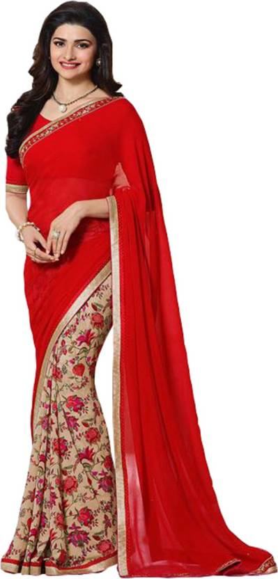 94d136cf7b7a2 Buy Maruti Creation Floral Print Daily Wear Georgette Red Sarees ...