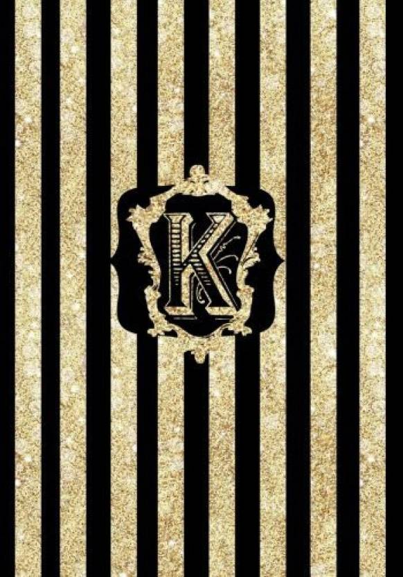 Generic K Gold and Black Glittery Cover, a Composition College Ruled
