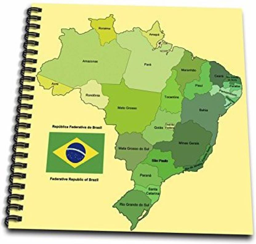 3dRose db_99125_1 Colorful Political Map of Brazil with Each ...