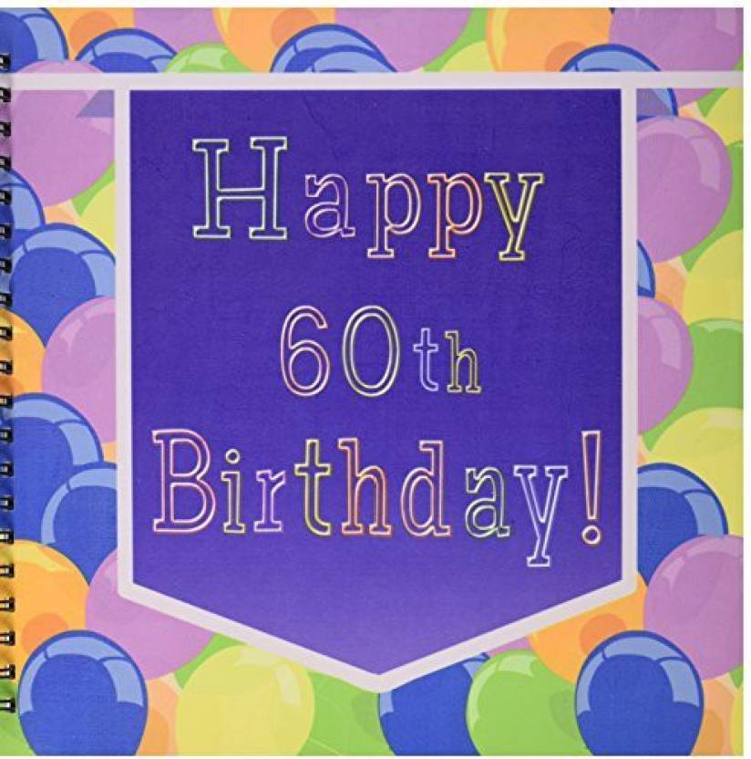 3dRose Db 173075 2 Balloons With Purple Banner Happy 60Th Birthday Memory Book 12 By Inch