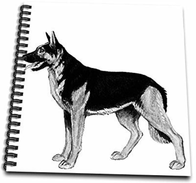 3dRose db_58161_1 German Shepard Dog Drawing Book, 8 by 8