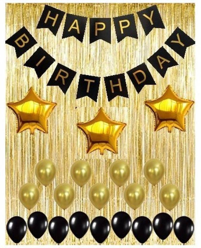 Theme My Party Black Decoration Kit Gold Metallic Fringe Shiny Curtains Happy Birthday Banner With Latex And Star Foil Balloons Price In India
