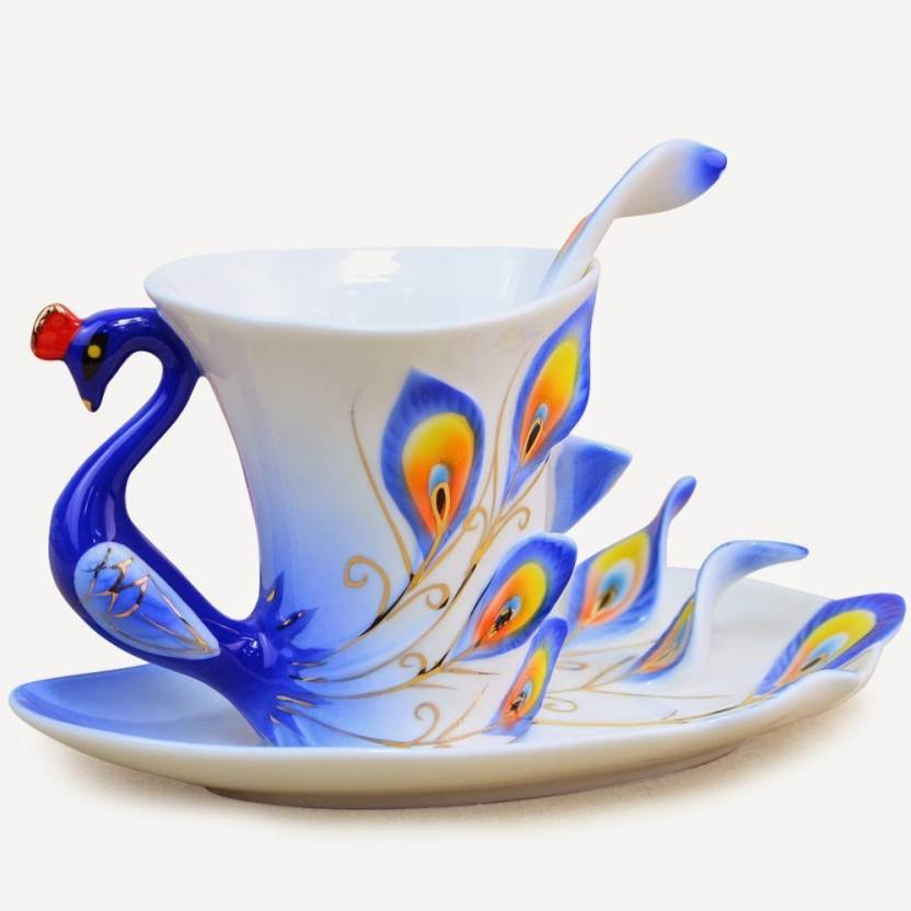 42c1b92f7ed BonZeal Beautiful Design Peacock Cup with saucer spoon Ceramic (Blue, Pack  of 1)